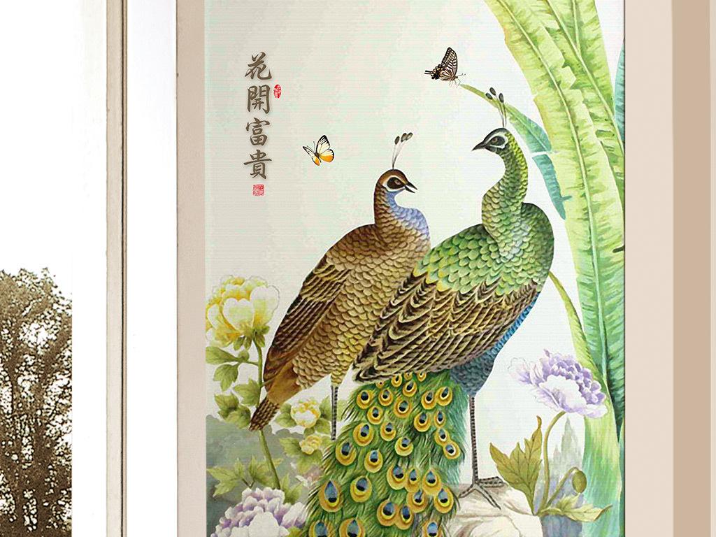 手绘花开富贵绿孔雀牡丹玄关壁画