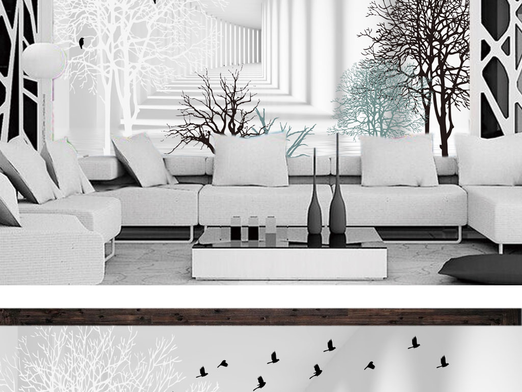 树林飞鸟3d空间扩展背景墙壁画