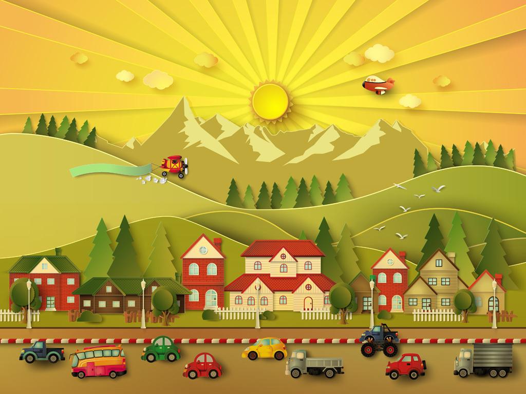 作品模板源文件可以编辑替换,设计作品简介: 时尚可爱卡通彩虹幼儿园