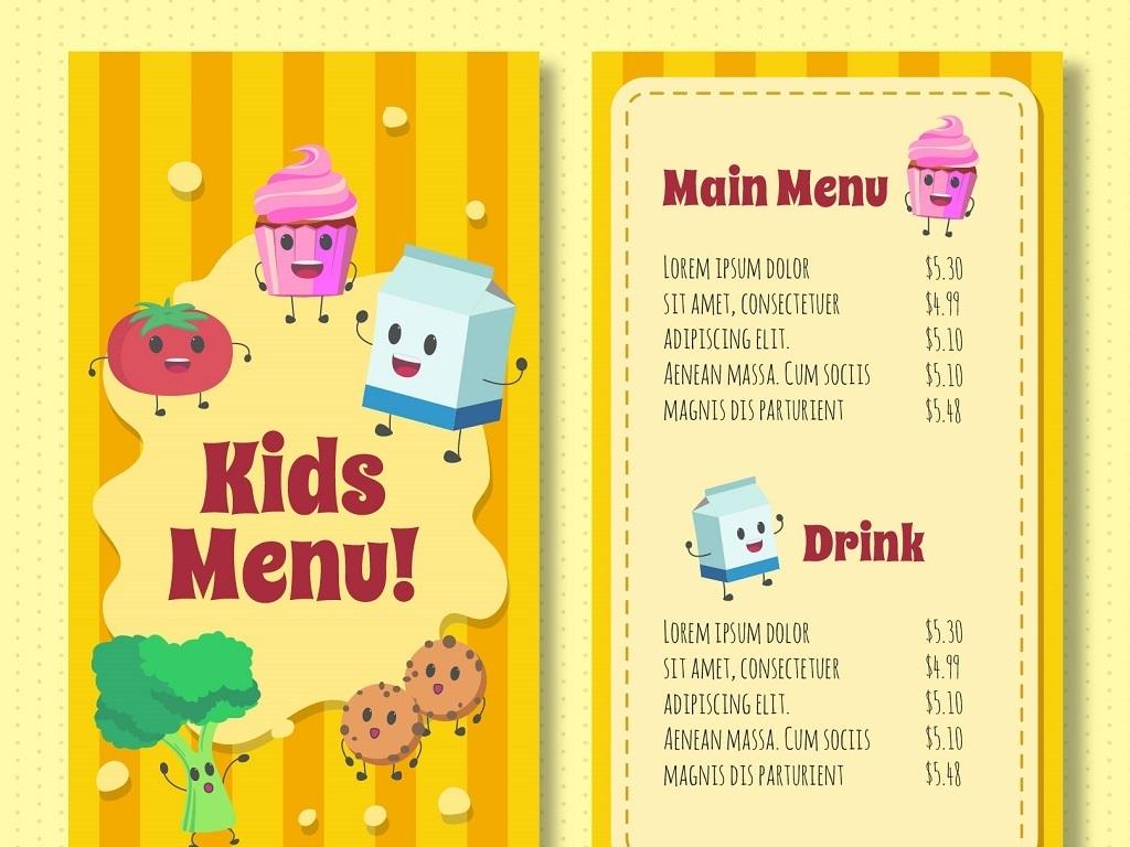 黄色可爱卡通儿童菜单矢量图