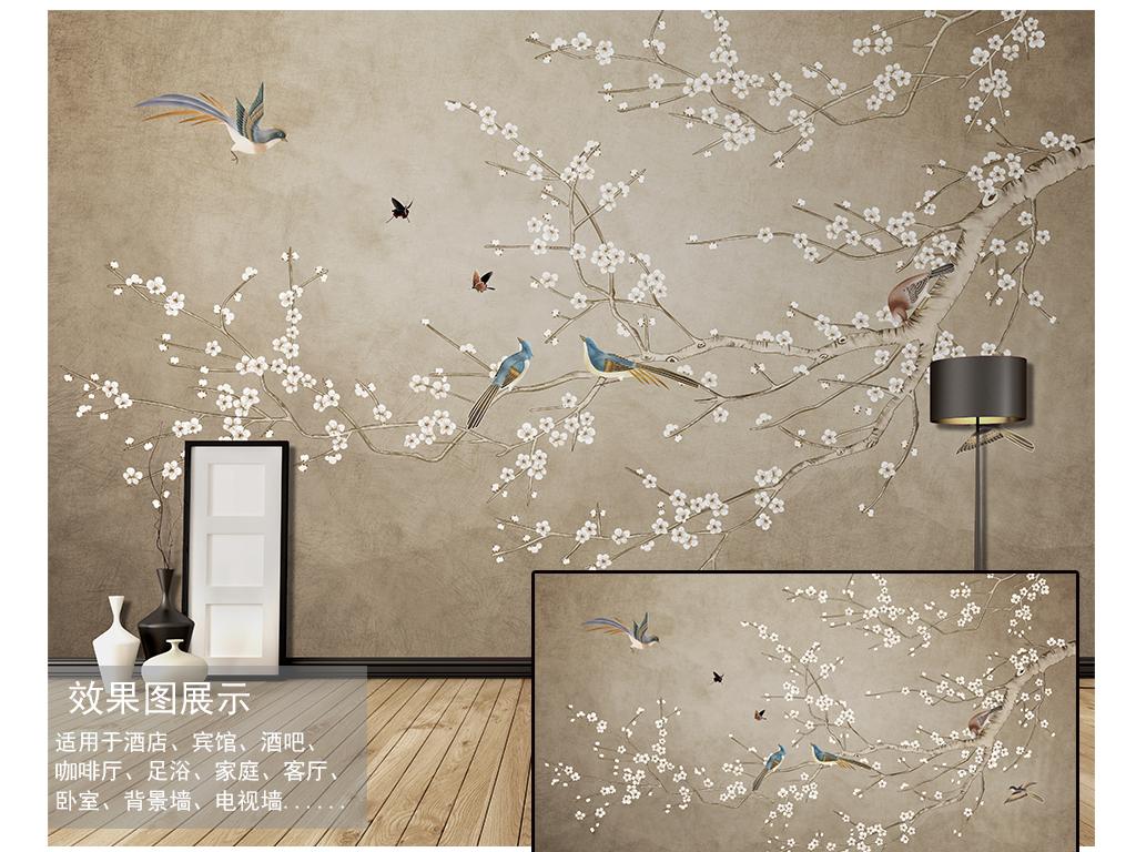 树枝山水水墨国画壁画墙纸高清壁纸白花白色花做旧旧纸写意古典风中式图片