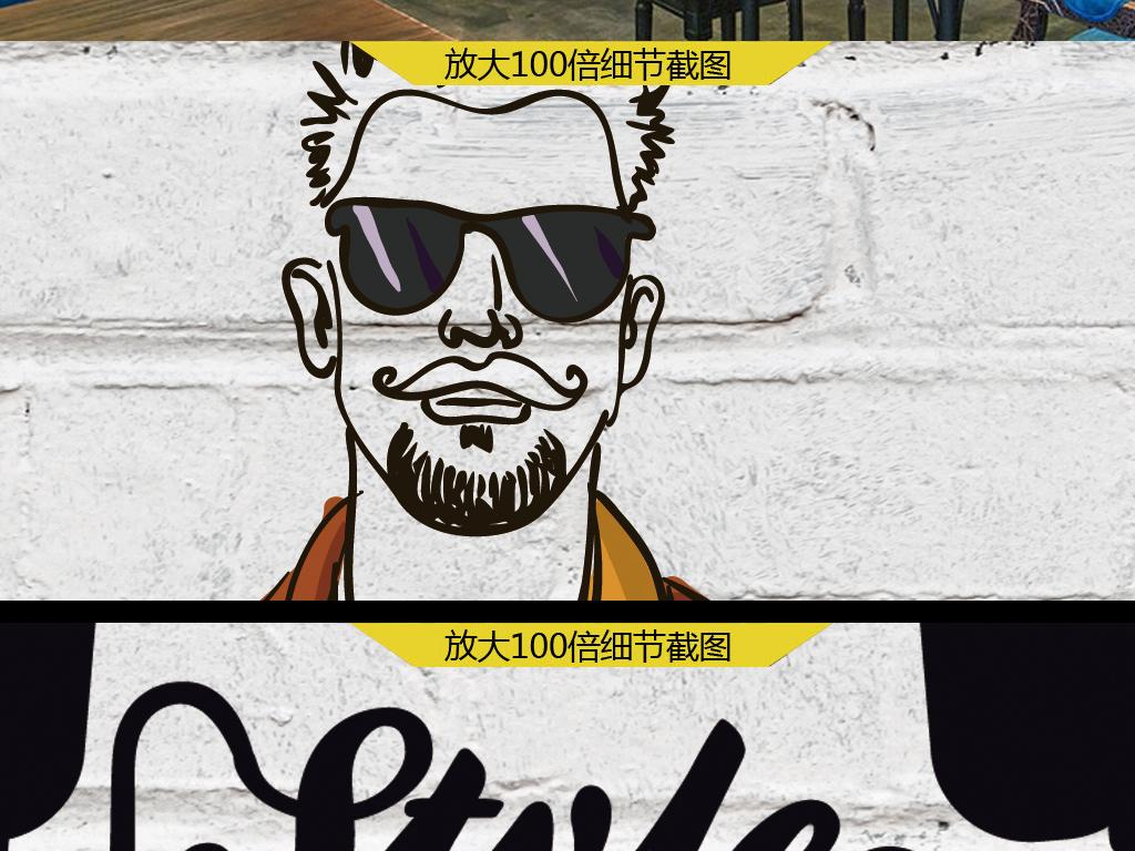 个性潮流砖墙手绘潮店背景墙