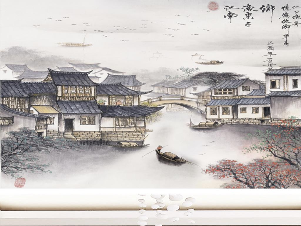 江南水乡中国风古典山水画电视背景墙