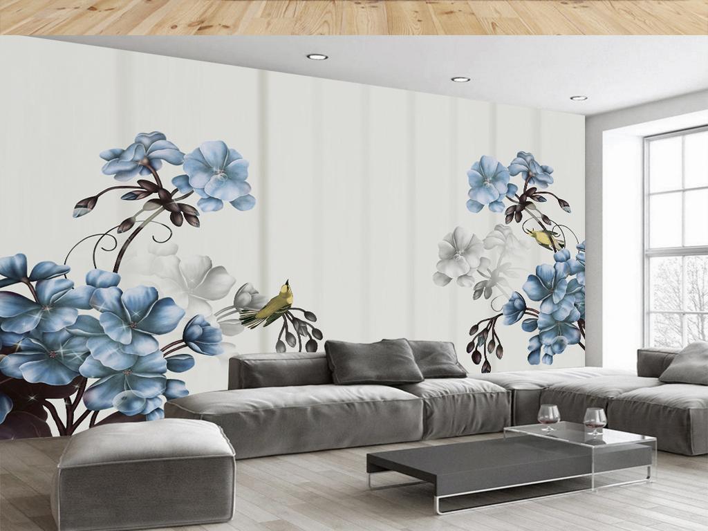 欧式复古手绘花卉电视背景墙图片