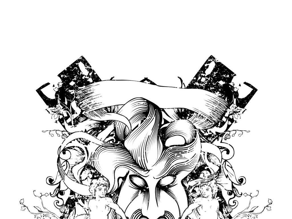 骷髅头涂鸦插画