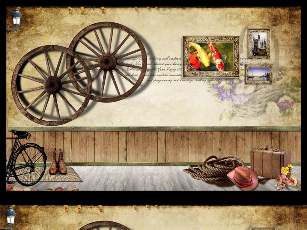 背景墙|装饰画 电视背景墙 手绘电视背景墙 > 自行车复古怀旧车轮背景