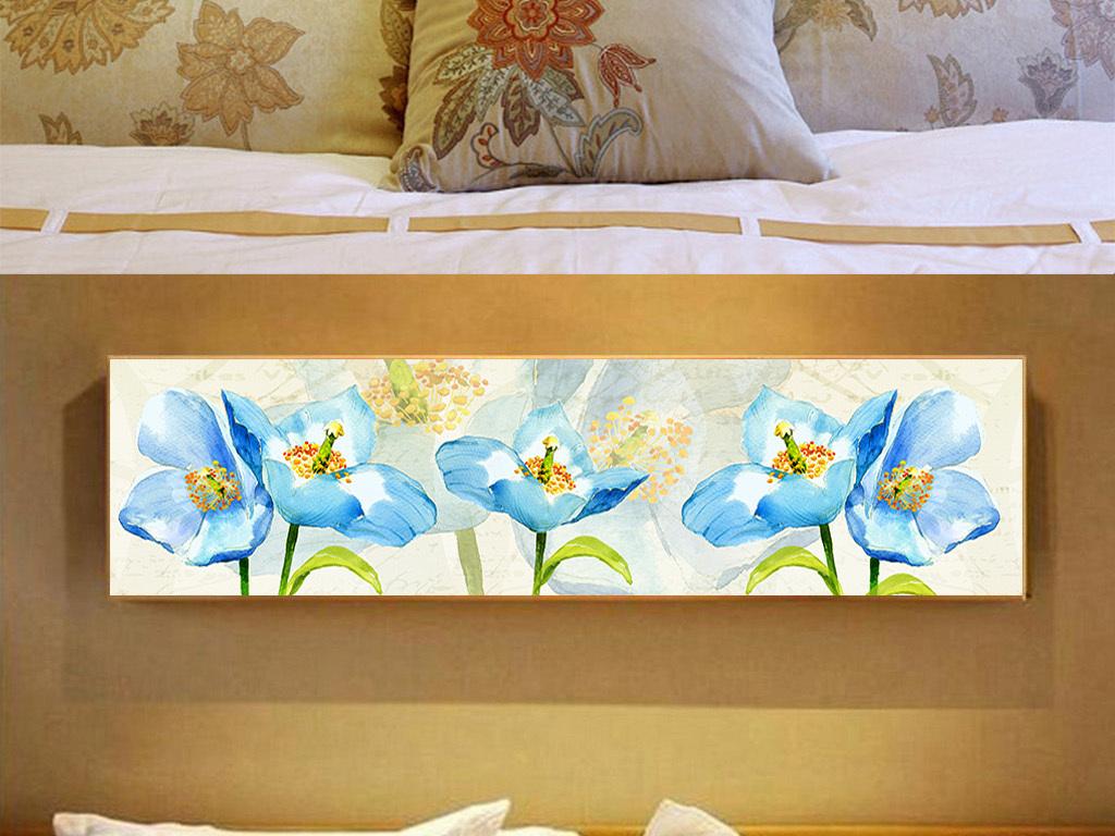 高档l蓝色水彩手绘花卉室内床头无框装饰画
