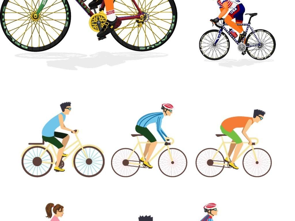 矢量卡通自行车骑行运动员素材