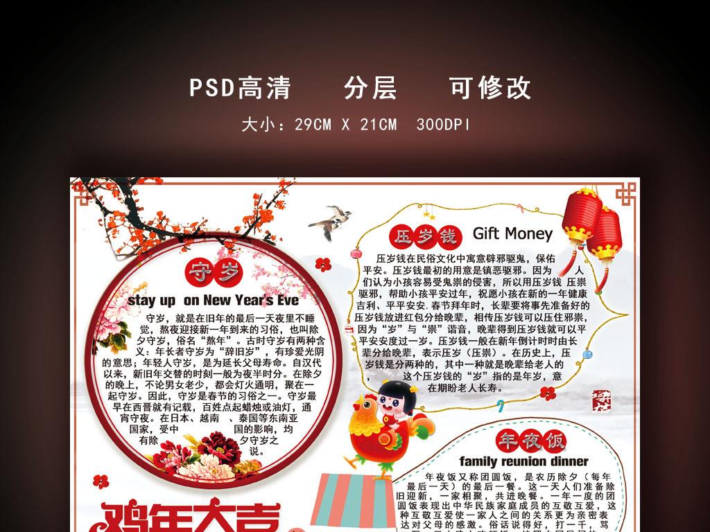 中国风鸡年电子小报手抄报模板