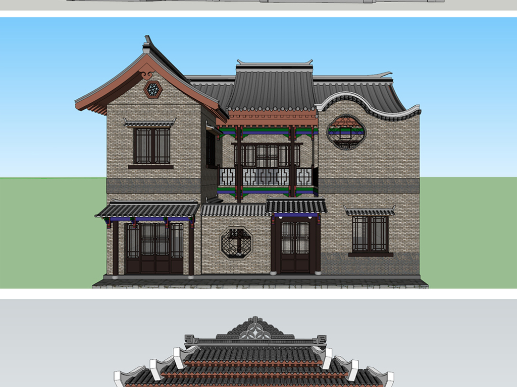 仿古燕云古镇商业街四合院别墅su模型设计图下载(图片图片
