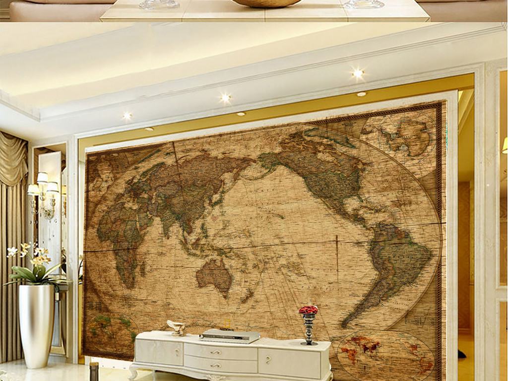 复古木纹高清亚洲地图装饰画