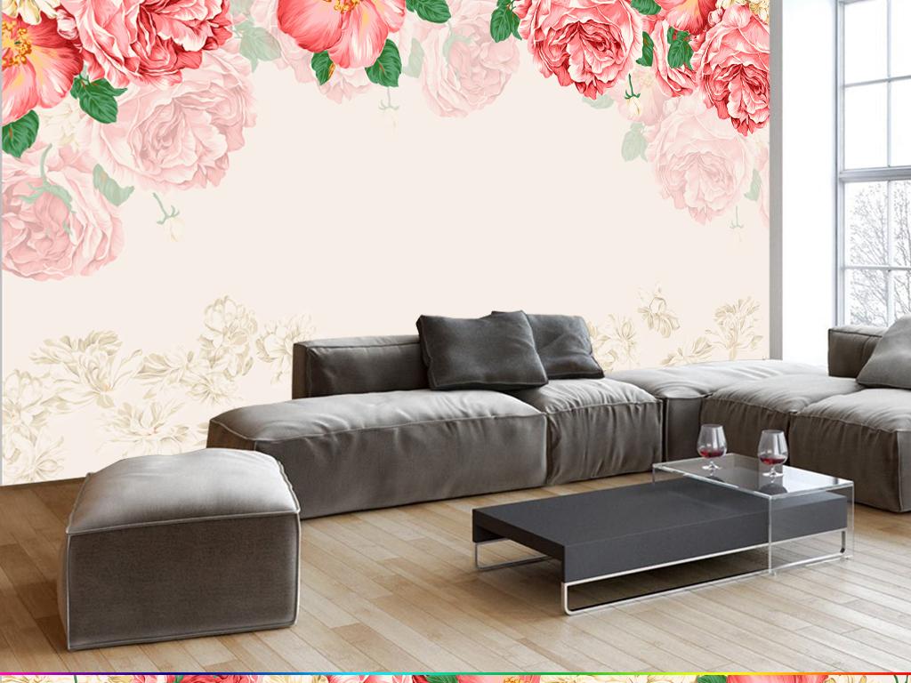手绘卡通牡丹花卉花朵婚房壁画电视背景墙