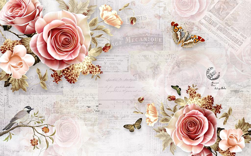2016-12-27 14:41:11 我图网提供精品流行梦幻手绘玫瑰背景墙素材下