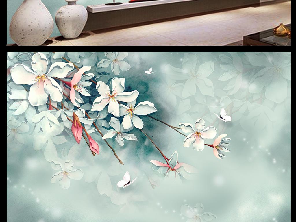 梦幻手绘樱花背景墙