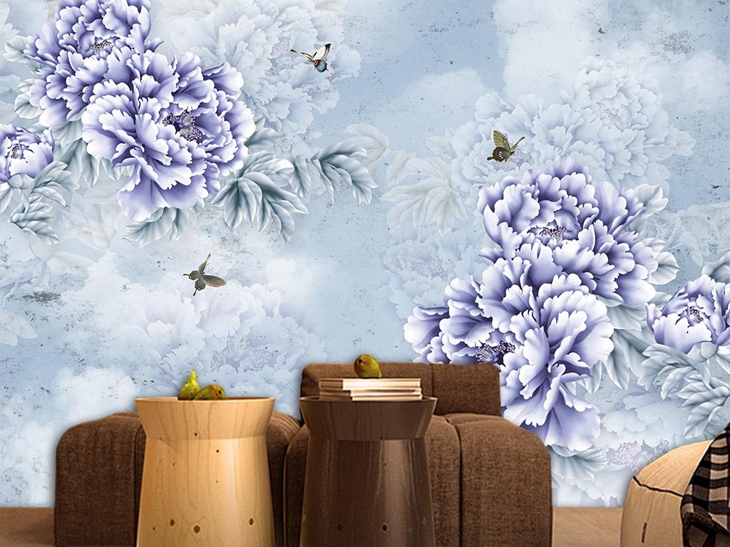 梦幻手绘玫瑰牡丹背景墙