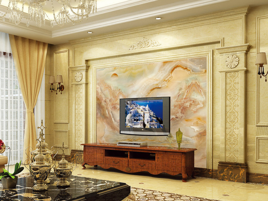 效果玉石石纹中式石纹背景玉石电视背景中式背景聚宝盘背景电视大理