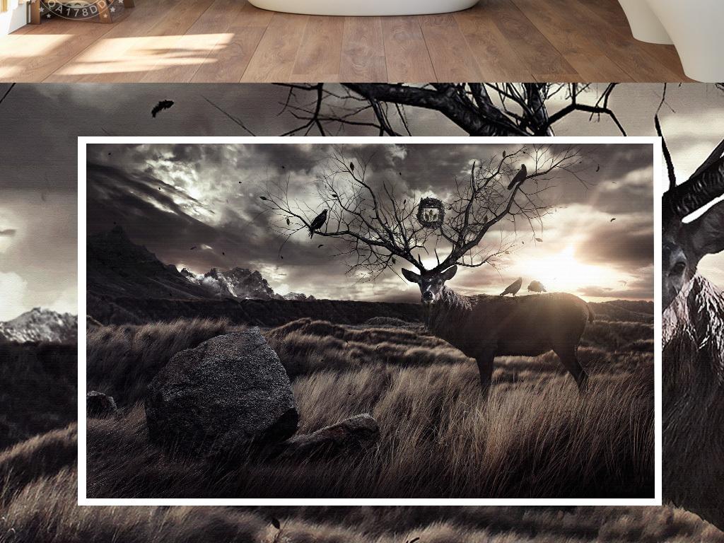 手绘树木草原阳光麋鹿北欧现代怀旧背景北欧背景怀旧