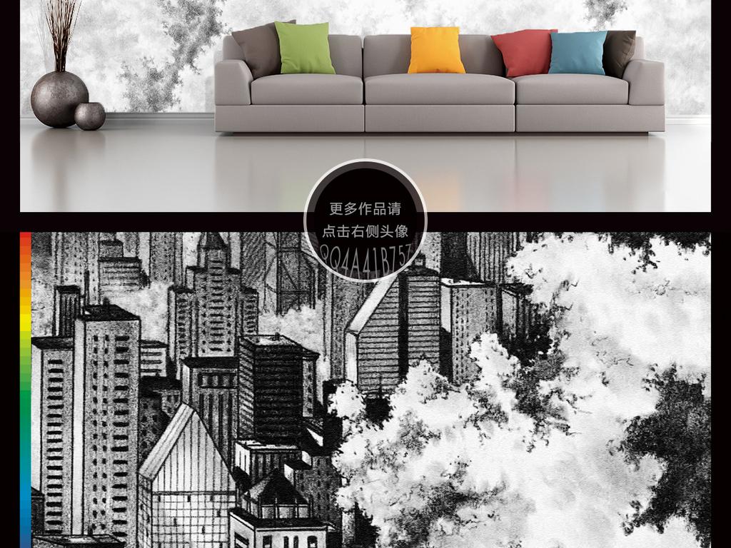 高清手绘素描黑白城市街道风景背景墙