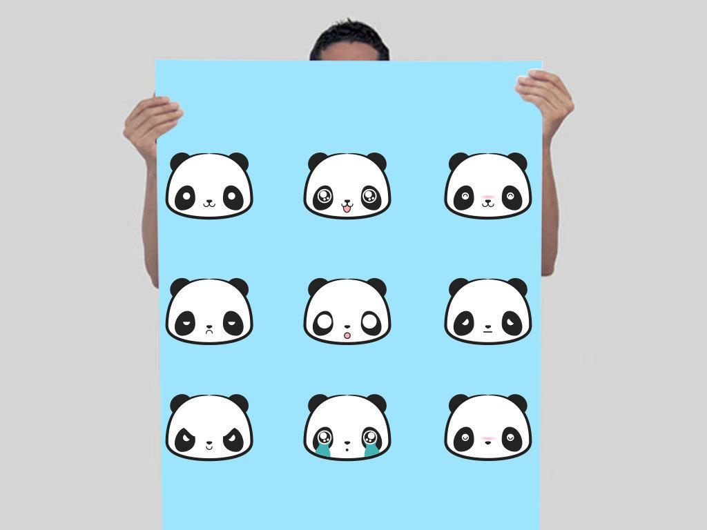 卡通熊猫表情包矢量素材