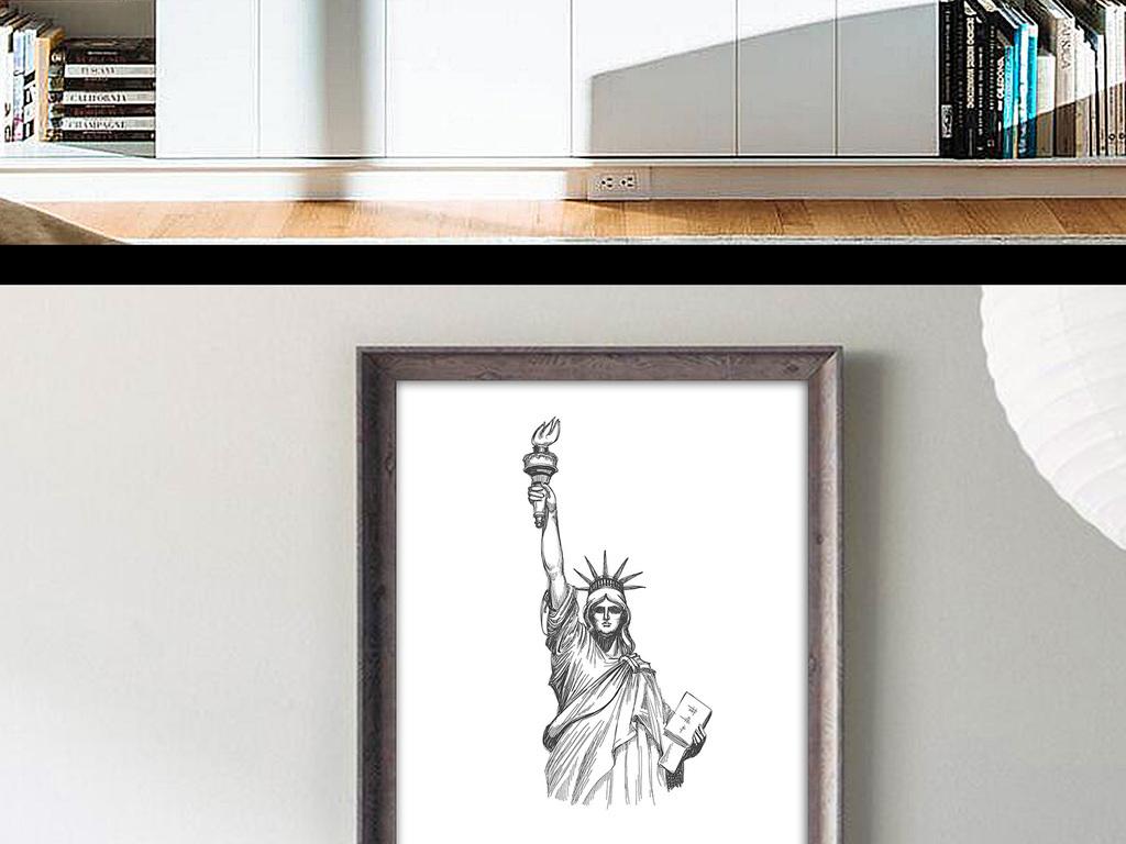 北欧欧式简约自由女神手绘黑白无框画