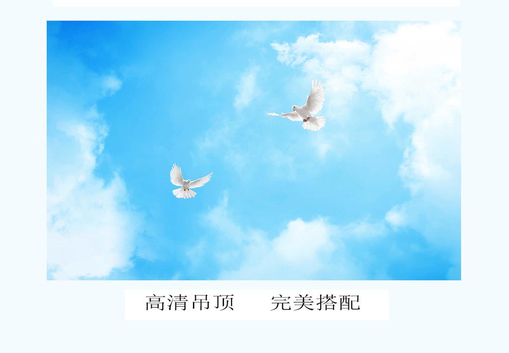 蓝天白云草原野马主题空间全屋背景图片