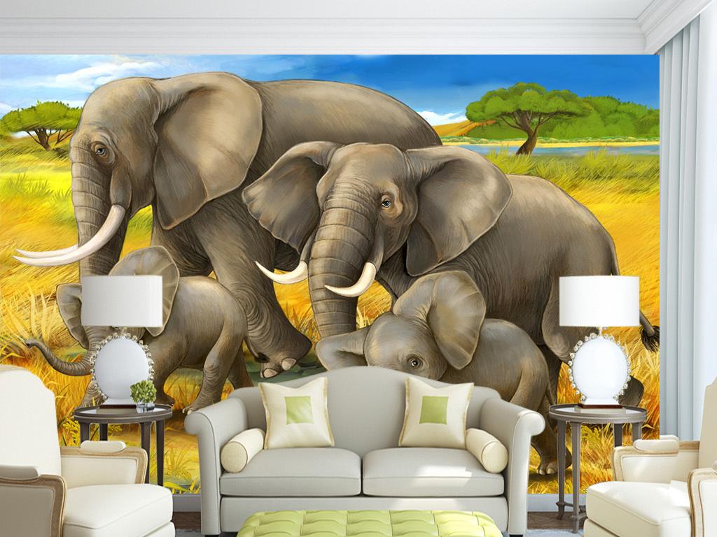 可爱时尚高清壁画墙纸壁纸动物树枝复古北欧欧式美式
