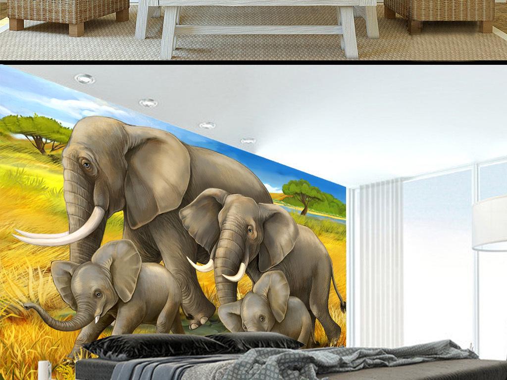 壁画墙纸壁纸动物树枝复古北欧欧式美式欧美田园小象