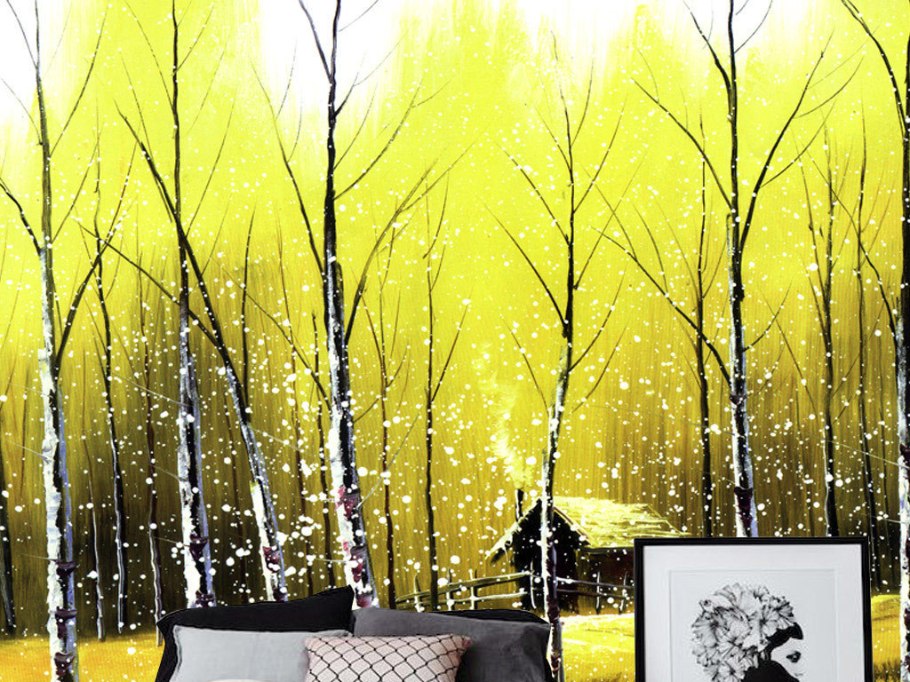 手绘背景墙大型壁画卧室客厅树林装饰画白桦白桦树林小屋金秋树林壁画