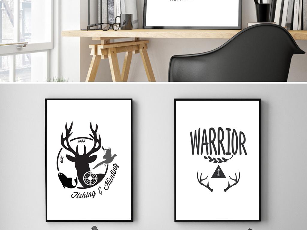 框画儿童房装饰画动漫手绘英文几何熊狼鹿角动物黑白