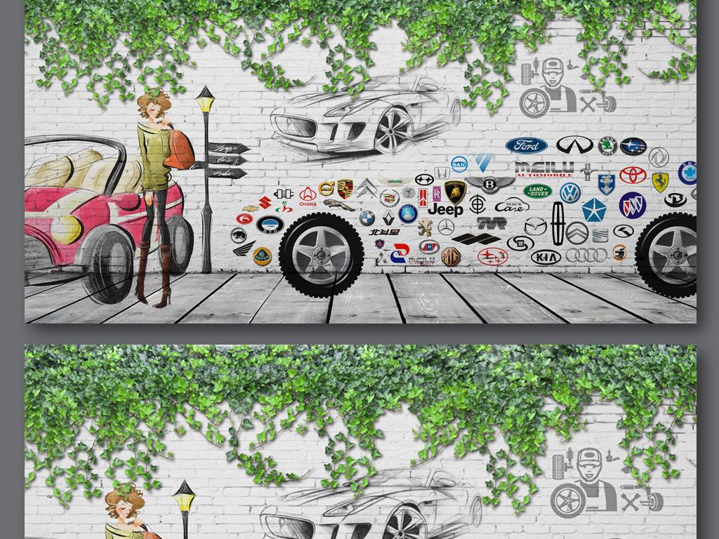 时尚美女手绘汽车车行背景墙卖车