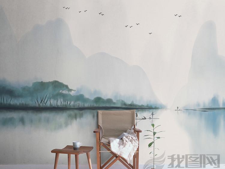 手绘新中式水墨山水背景墙装饰画