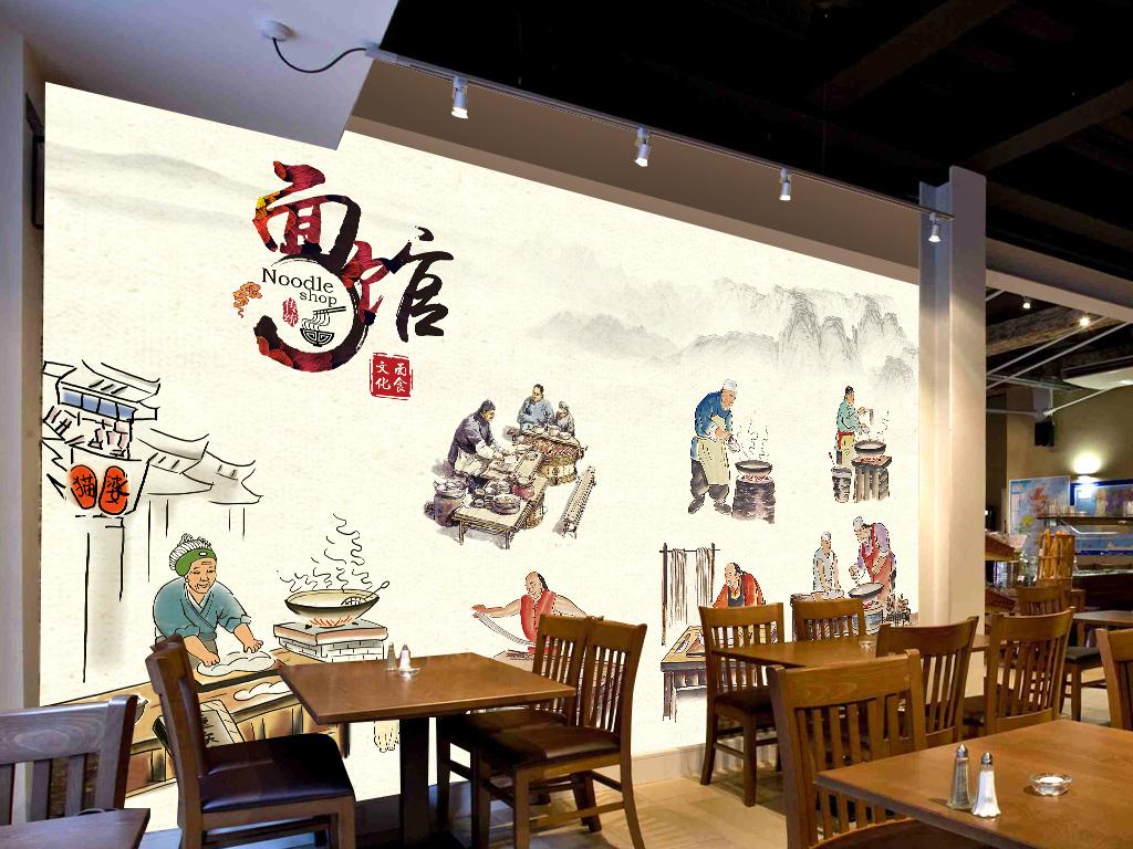 面馆装饰画复古手绘海报主题餐厅