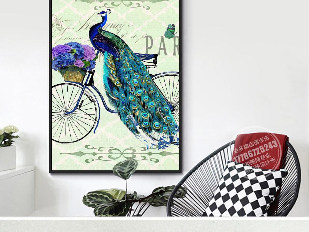 装饰画 北欧装饰画 动物装饰画 > 欧式手绘绿孔雀花瓶花卉三联无框画