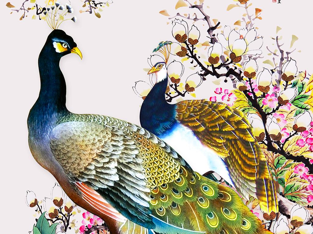富贵图孔雀梅花牡丹手绘新中式玄关背景墙
