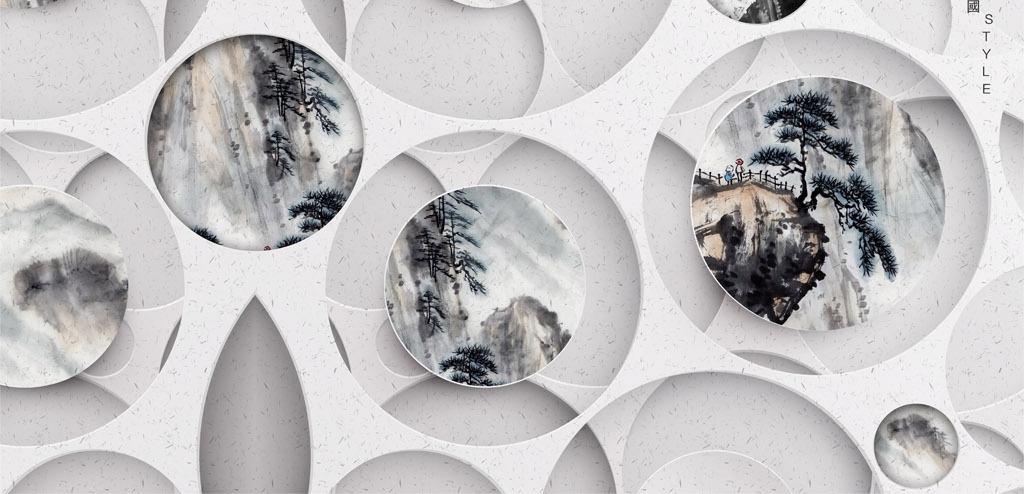 新中式现代圆形浮雕山水画客厅背景墙图片