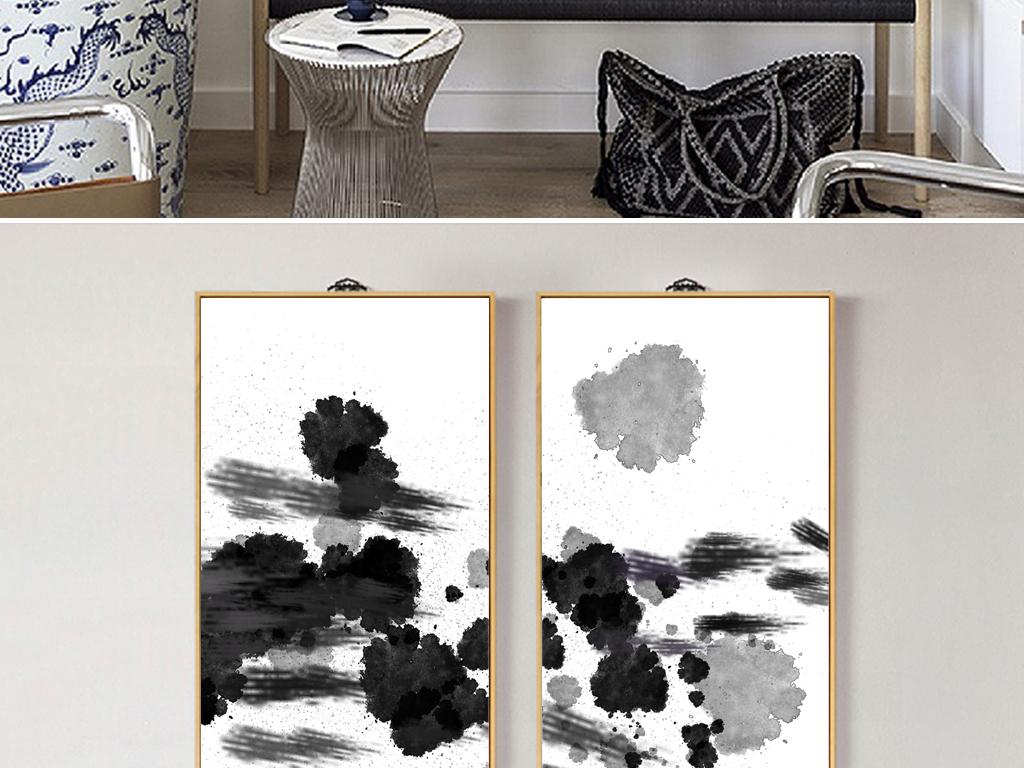 水墨创意手绘无框画中国风抽象装饰画
