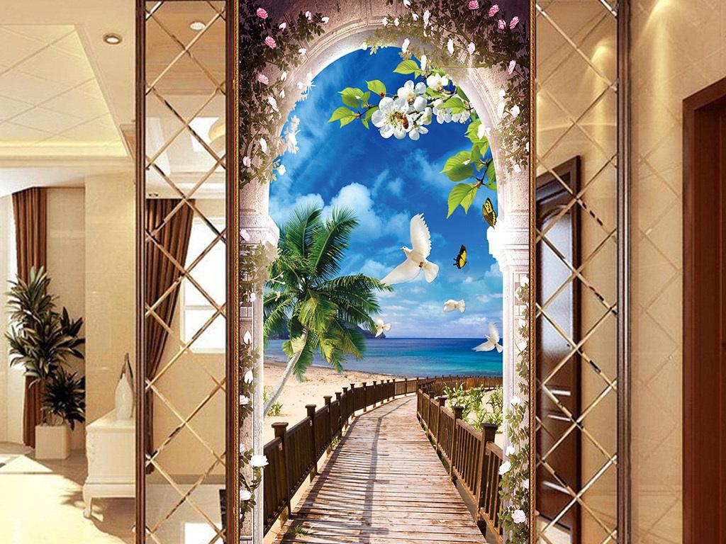背景墙|装饰画 玄关 3d玄关 > 海边风景过道木板桥小桥玄关背景墙壁