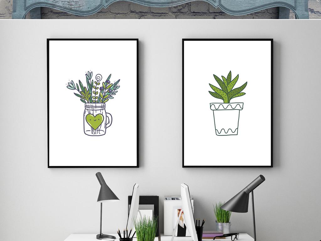 北欧简约小清新仙人掌花卉植物盆栽装饰画