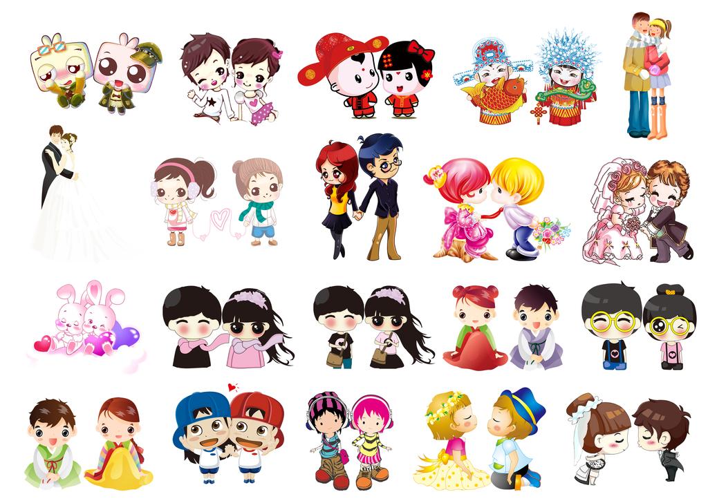 设计元素 人物形象 动漫人物 > 可爱卡通情侣形象psd分层素材  版权