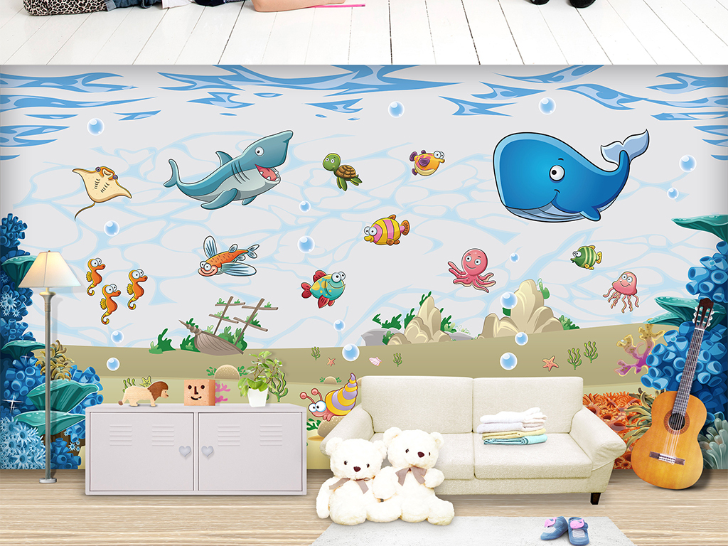 手绘卡通海底世界儿童房矢量背景墙