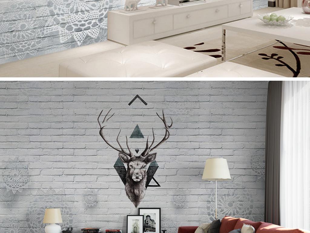 客厅电视墙                                  沙发背景墙手绘鹿