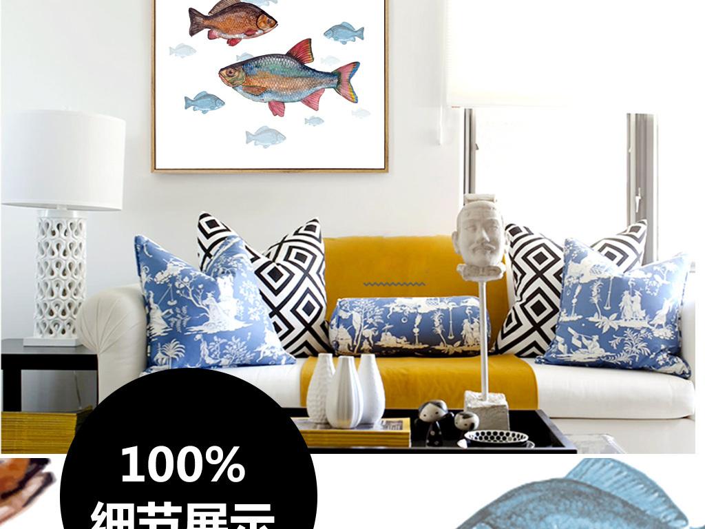 北欧风格鱼群装饰画