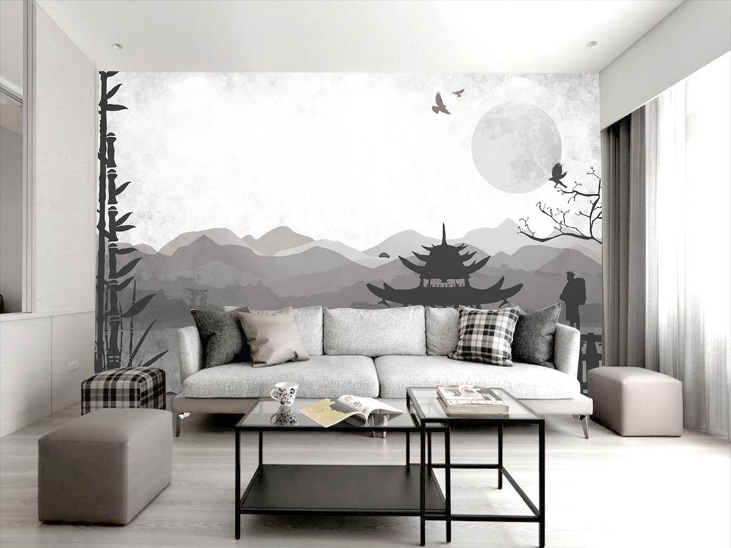 新中式黑白手绘古代建筑景观背景墙