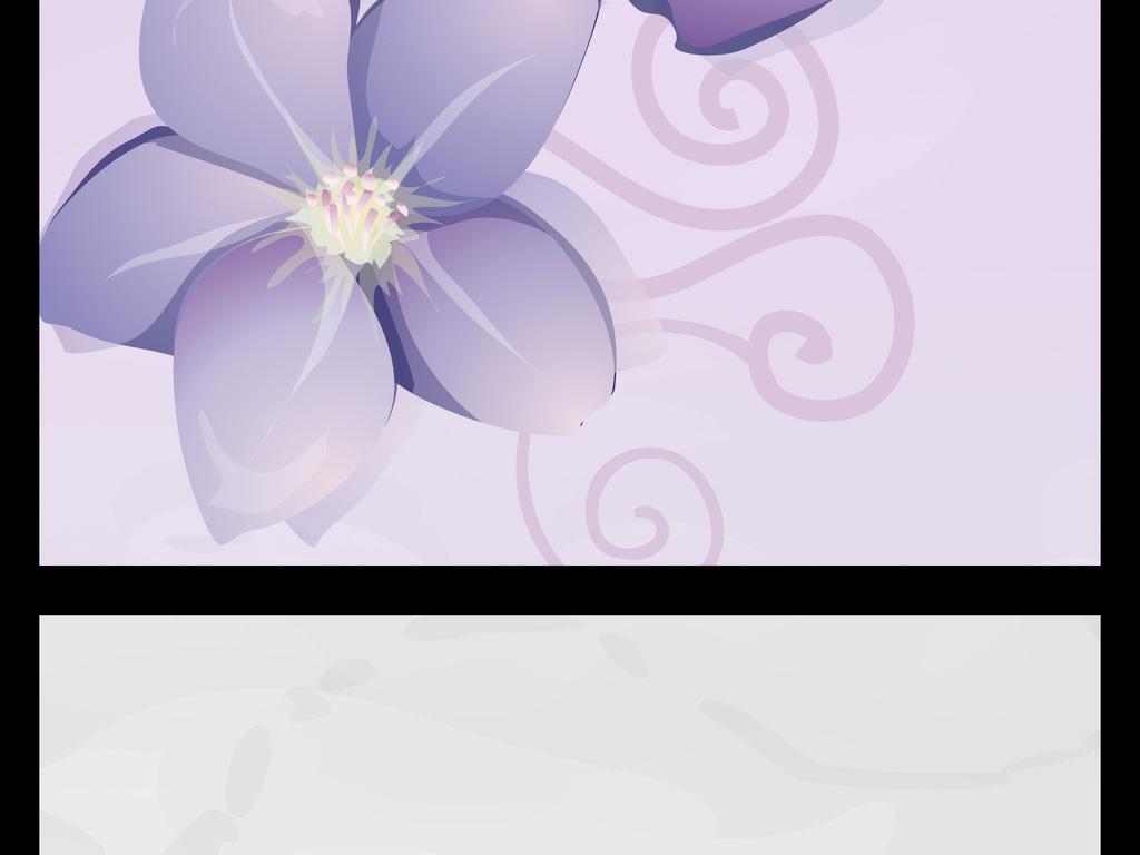 立体紫色小花丛背景墙壁画