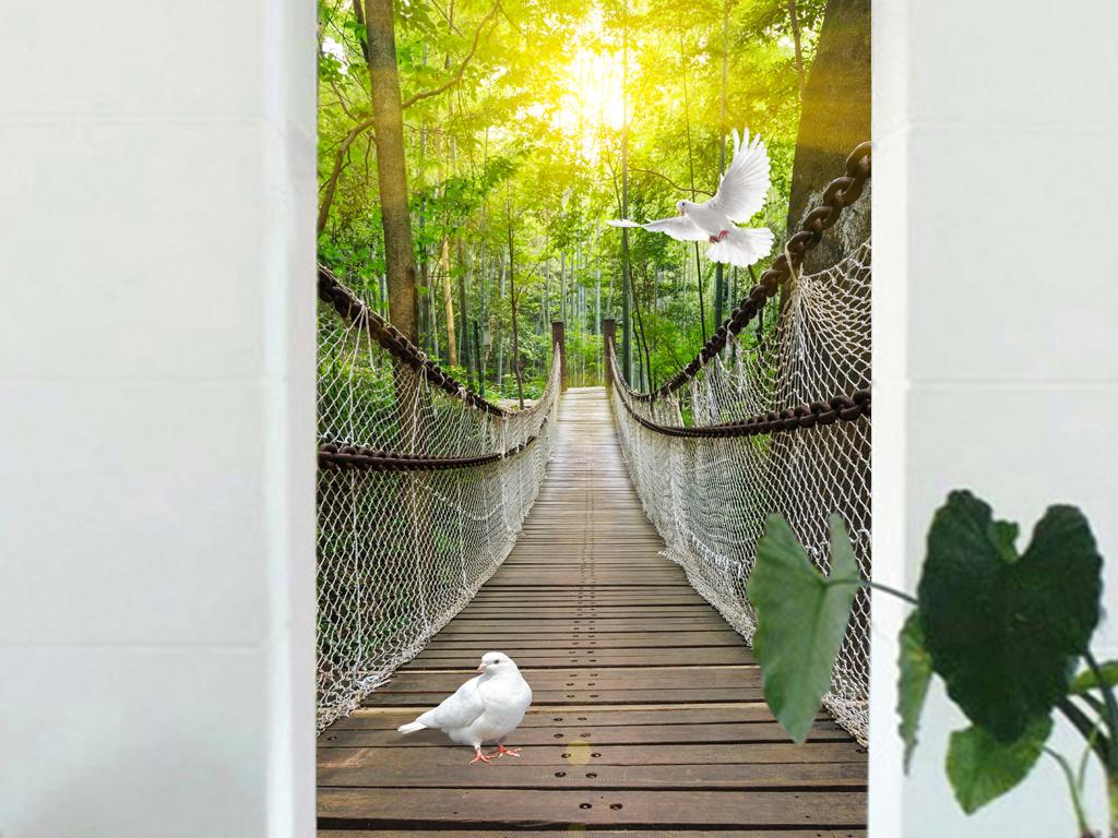 过道走廊森林风景玄关背景墙吊桥背景