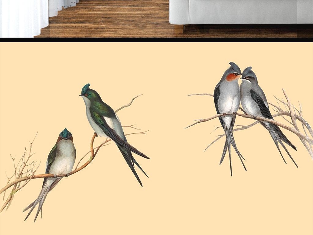 新中式手绘树枝小鸟喜鹊墙纸图片