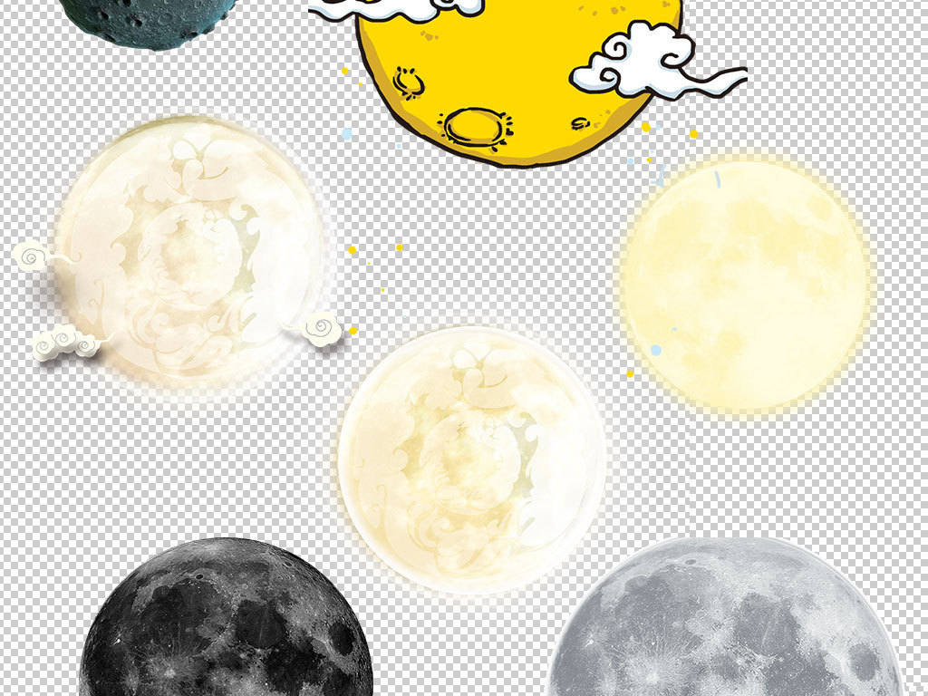 卡通手绘发亮月亮海报png素材