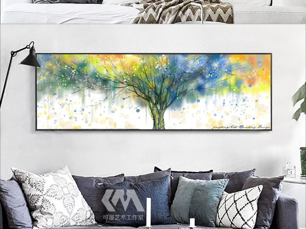 手绘北欧抽象发财树油画客厅装饰画床头画