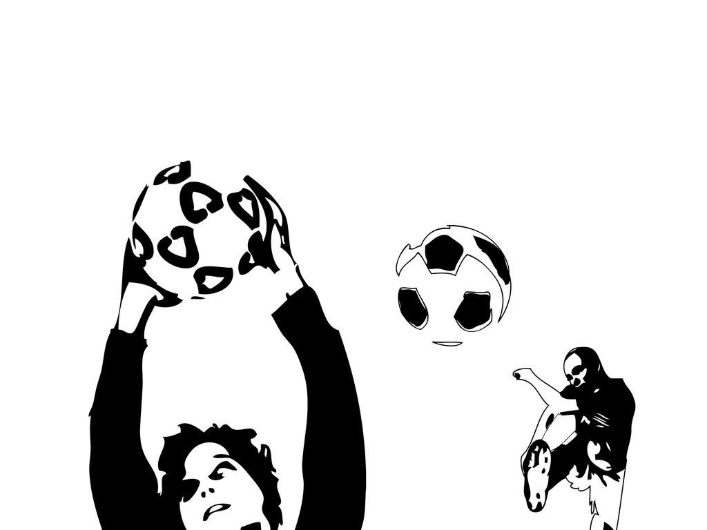 手绘足球海报 黑白