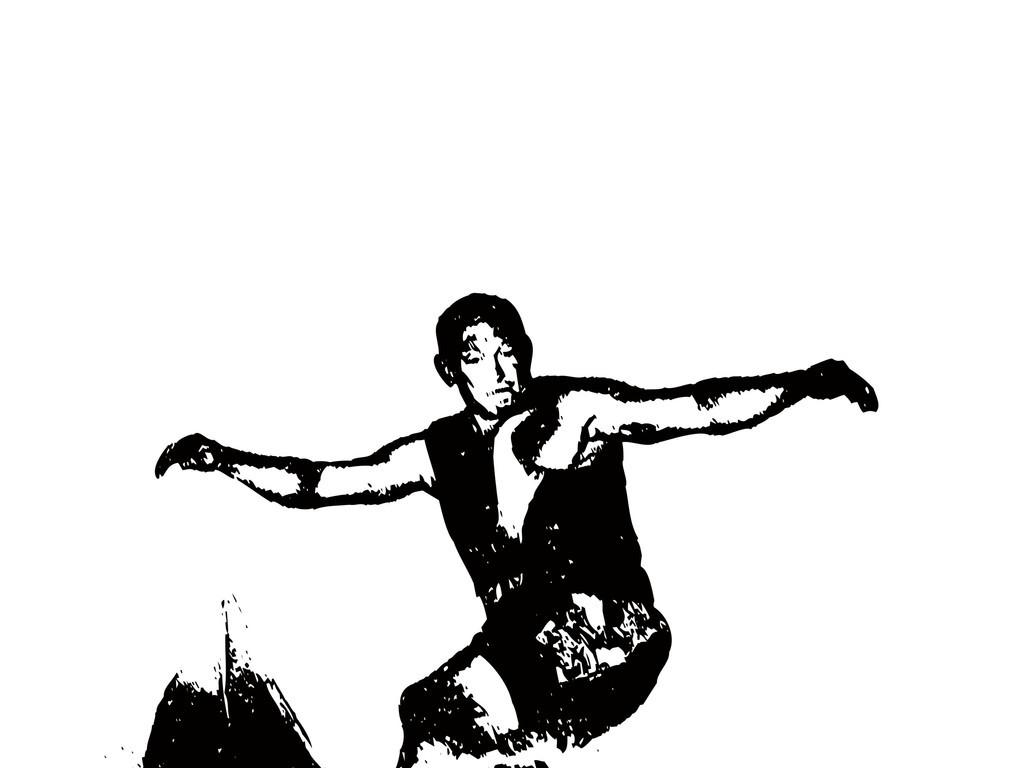 运动人物简笔画冲浪人物剪影海浪男人运动员